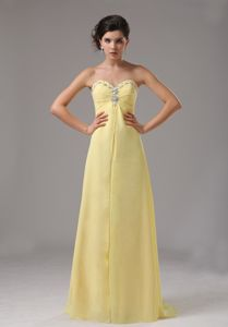 Yellow Sweetheart Chiffon Prom Dress with Beading in Bremerton WA