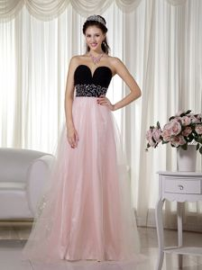 Romantic Sweetheart A-line Prom Dress in Pink and Black in Georgetown