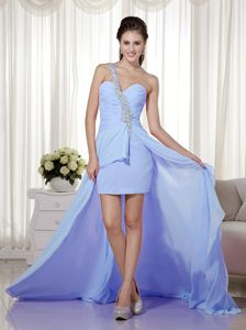 Beaded One Shoulder High-low Light Blue Prom Gowns in West Hartford