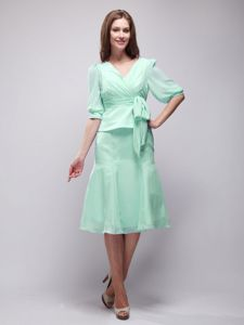 Apple Green Half Sleeves Knee-length Prom Gowns with Sash in Noank