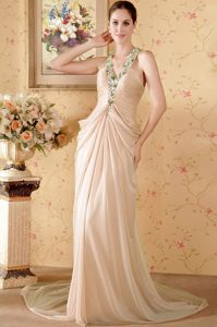 Beaded and Ruched Halter Prom Gown with Chapel Train in Champagne