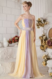 Yellow and Lilac Strapless Empire Prom Gowns with Brush Train in Delta