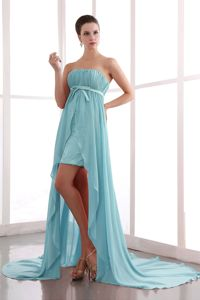 Pretty High-low Strapless Ruched Prom Gown Dresses with Beading