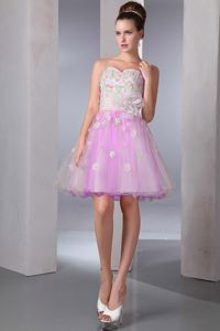 Affordable Colorful Organza Prom Attire with Floral Embellishment