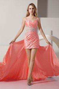 Detachable Straps Beaded Senior Prom Dress with Ruche and Pleat
