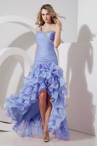 Best Lilac High-low Ruched Beaded Prom Outfits with Ruffled Layers
