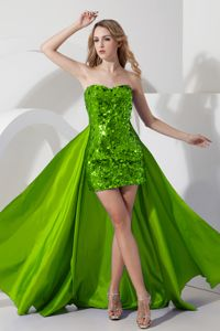 Gorgeous Detachable Sequined Prom Gown Dress in Spring Green