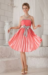 New Arrival Watermelon Ruches and Pleat Prom Dresses with Bow