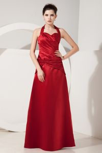 Cheap Wine Red Halter Ruched Prom Gown Floor-length in Aberdyfi Gwynedd