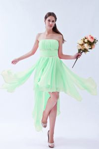 Sweet Asymmetrical Strapless Beaded Prom Outfits in Apple Green