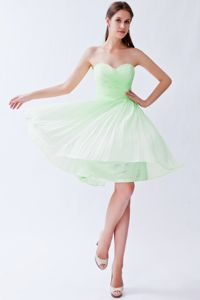 Flattering Apple Green Sweetheart Prom Attire with Ruche and Pleat
