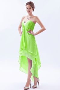 Plus Size Spring Green High-low V-neck Prom Dresses with Beading
