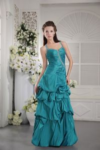 Floor-length Beading Pick-ups Prom Gowns with Criss Cross Back