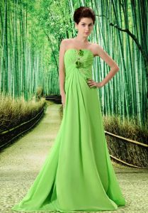 Perfect Spring Green Chiffon Prom Gown with Hand Made Flowers