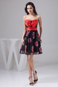 Pretty Floral Print Strapless Chiffon Prom Gown Dresses with Bow