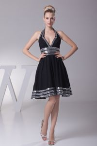 Wholesale Black Halter Mini-length Prom Gown Dress with Sequins
