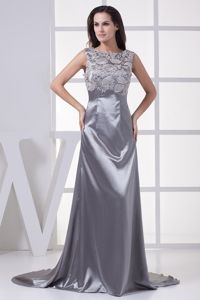 Lace Scoop Grey Formal Prom Dress with Brush Train in Galveston