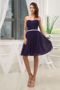 Ruched Purple Strapless Mini Length Semi-formal Prom Dress in Beaumont
