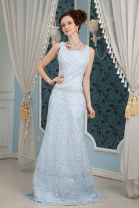 Light Blue Lace Formal Prom Dresses with Brush Train in Flower Mound