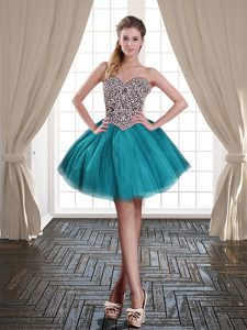 Top Selling Teal Ball Gowns Beading Dress for Prom Lace Up Tulle Sleeveless Mini Length