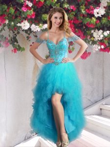 Top Selling Off the Shoulder Teal Sleeveless Beading and Ruffles High Low Prom Dress