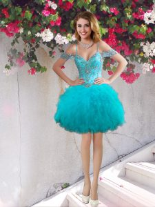 Glittering Off the Shoulder Tulle Sleeveless Mini Length Prom Evening Gown and Beading and Ruffles