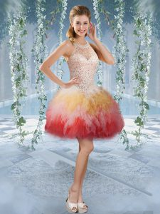 Multi-color Ball Gowns Tulle Halter Top Sleeveless Beading and Embroidery Mini Length Lace Up Homecoming Dress