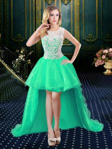 Unique Turquoise Evening Dress Prom and Party and Military Ball and Wedding Party with Lace Scoop Sleeveless Zipper