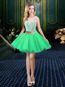 Scoop Mini Length A-line Sleeveless Prom Dress Lace Up