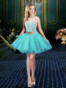 Fashionable Scoop Aqua Blue Ball Gowns Lace Clasp Handle Organza Sleeveless Mini Length