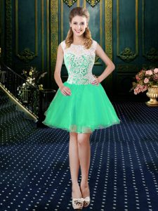High Quality Turquoise A-line Organza Scoop Sleeveless Lace Mini Length Zipper Prom Dresses