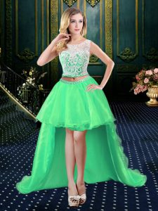 Custom Design Scoop Organza Clasp Handle Prom Evening Gown Sleeveless High Low Lace