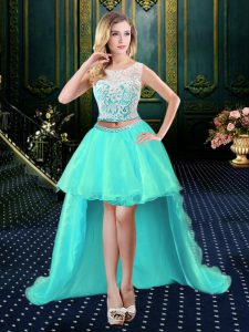 Luxurious Scoop Lace Celebrity Dresses Aqua Blue Clasp Handle Sleeveless High Low