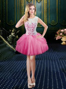 Captivating Hot Pink Scoop Clasp Handle Lace Prom Dresses Sleeveless