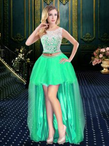 Sweet Clasp Handle Scoop Sleeveless Prom Party Dress High Low Lace Turquoise Tulle