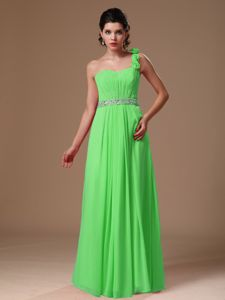 One Shoulder Beaded Chiffon Prom Gown with Hand Made Flowers