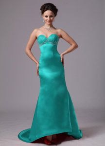 Sweetheart Spring Junior Prom Dresses in Turquoise with Appliques