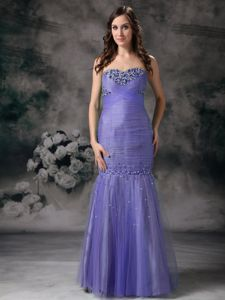 Purple Mermaid Sweetheart Organza Beaded Junior Prom Dresses in Warwick