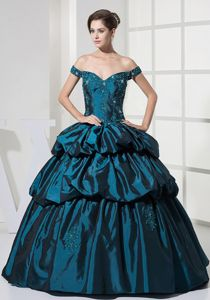 Appliqued Beaded Off The Shoulder Prom Dresses with Pick-ups in Reading