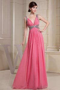 V-neck Beaded Watermelon Junior Prom Dresses in Floor-length in Hillsboro