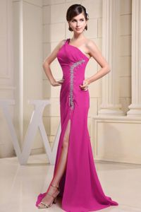 Fuchsia One Shoulder Beaded Prom Dress with High Slit in Gresham