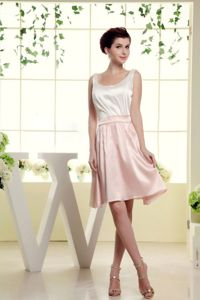Scoop White and Baby Pink Mini-length Semi-formal Prom Dresses