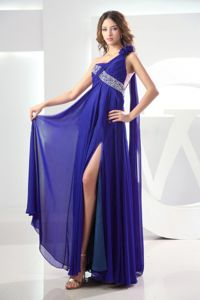 Beaded Royal Blue One Shoulder Ruched Prom Dress with High Slit