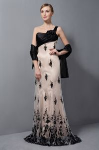 One Shoulder Champagne Lace Prom Dress with Hand Made Flower
