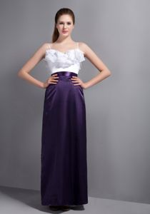 Ruffled Junior Prom Dress with Spaghetti Straps in Purple and White