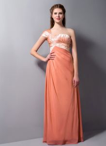 Orange One Shoulder Floor-length Prom Dresses with Beading in Gympie