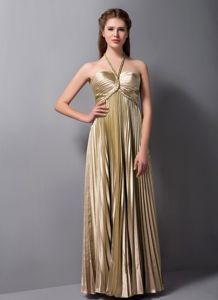 Halter Top Semi-formal Prom Dress in Brown with Pleats in Gold Coast