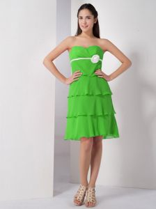 Spring Green Sweetheart Chiffon Prom Attire with Hand Flowers in Dubbo