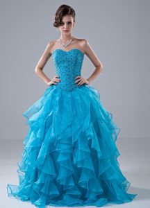 Sweetheart A-line Beaded Blue Prom Outfits with Ruffled Puffy Hem