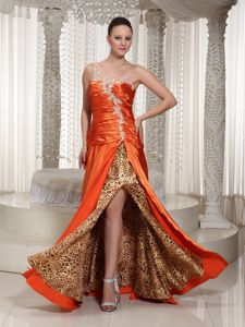 One Shoulder Appliqued Slitted Orange Prom Dress with Leopard Print